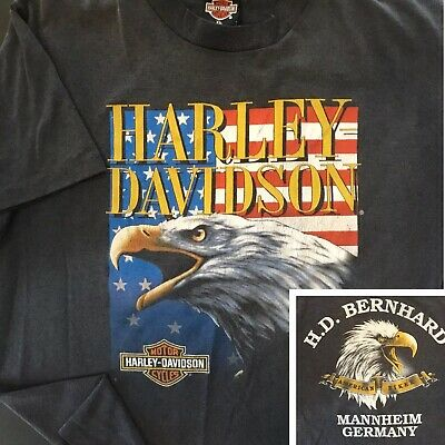 $ CDN174.26 • Buy Vintage Harley Davidson T-Shirt 90s 3D Emblem Eagle USA Flag Mannheim Germany XL