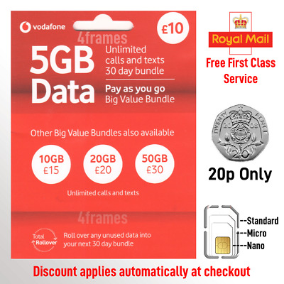 £0.99 • Buy New Vodafone Sim Card For IPhone 5 5C 5S 6 6+ 6S 6S+ SE 7 7+ 8 8+ X XR XS 11
