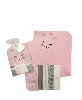 Baby Girl Soft Hooded Towel & Wash Cloths Bath Gift Set Pink Colour • 6.50£