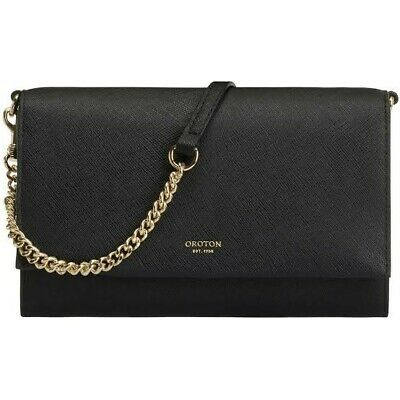 AU109 • Buy OROTON LEATHER CHAIN CROSSBODY POUCH/CLUTCH BAG In Black RRP$199