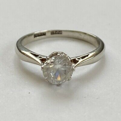 VINTAGE  18CT WHITE GOLD 1.0ct Solitaire Ring Size M.5 • 295£