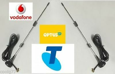 AU54.99 • Buy 5dBi DUAL ANTENNAS FOR TELSTRA/VODAFONE 3G 4G LTE MODEMS TS9 Connector/2m Cable