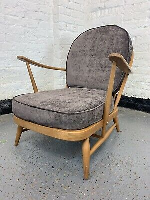 UK DELIVERY. Vintage Ercol 203 Windsor Armchair With New Grey Fabric Covers Sofa • 295£