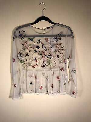 $19 • Buy Zara Womens Mesh Sheer Long Sleeve Peplum Embroidered Beaded Shirt Size Large