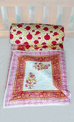 Hand Printed Indian King Size Quilt, Indian Throw, Indian Blanket, Block Printed • 54.99£