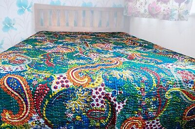 Handmade Indian King Size Kantha Quilt, Indian Throw, Indian Bedding Blanket • 44.99£