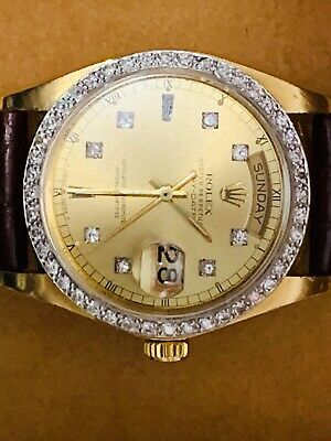 AU8930 • Buy Rolex Vintage Day Date President 18K Yellow Gold Watch With Diamond Besel