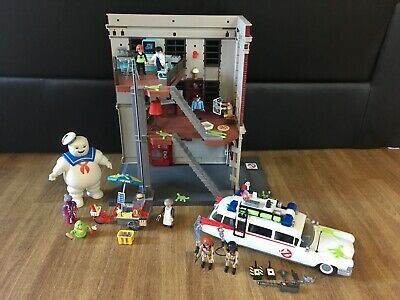 Playmobil Ghostbusters 9219 HQ Fire House Ecto 1 Car 9220 Hotdog Stand Stay Puft • 57£