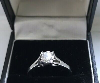 Vintage 18ct White Gold 0.60ct Diamond Solitaire Ring Size R 3.17g Approx • 580£