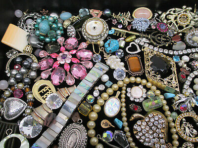 $ CDN14.27 • Buy VINTAGE To MOD JEWELRY BITS & PIECES For CRAFTS HARVEST * LOTS Of RHINESTONES