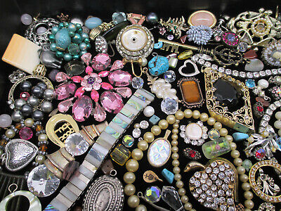 $ CDN13.52 • Buy VINTAGE To MOD JEWELRY BITS & PIECES For CRAFTS HARVEST * LOTS Of RHINESTONES