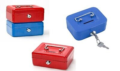 £9.75 • Buy 6  Steel Money Lockable Bank Deposit Coin Security Safe With 2 Key Blue/Red