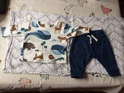 M&S Baby Blue Animal Print Outfit Up To 1M • 4£