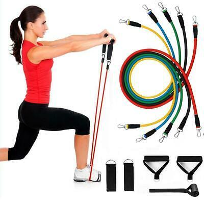 $ CDN22.21 • Buy Resistance Bands Tubes With Handles Set Door Anchor Workout Strength Home Gym