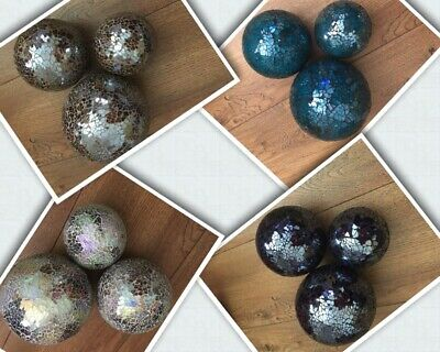 Set Of 3 Mosaic Glass Decorative Balls -Azure Blue, Purple, Neutral Or Cappucino • 21.50£