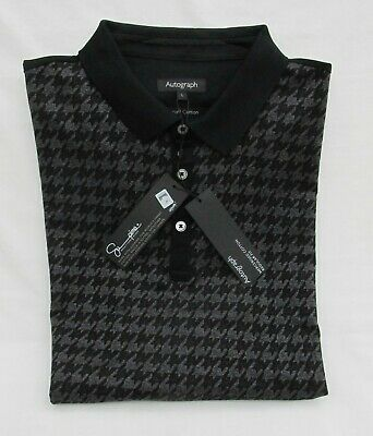 Men's Marks And Spencer Autograph Charcoal Mix Supima Cotton Polo Shirt Size L • 16.99£