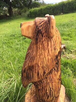 Chainsaw Carved  Wooden Bear Carvings Garden Bear Carving Brown Bear Wood • 89.99£