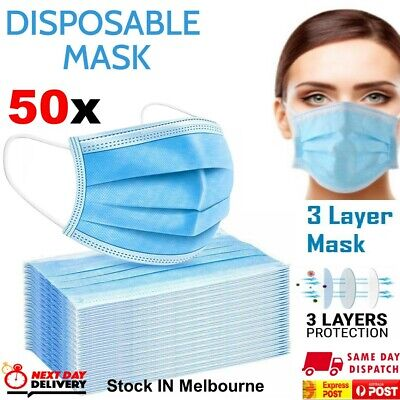 AU11.97 • Buy Face Mask Surgical Grade FaceMask Disposable Masks 3 Layers Filter Cover X50 Pcs