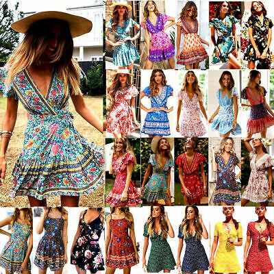 AU20.39 • Buy Womens Ladies Summer Holiday Floral Print Sundress Boho Beach Casual Mini Dress