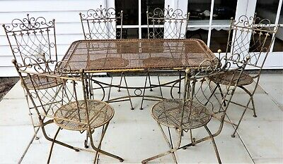 AU450 • Buy Vintage Wrought Iron French Style Outdoor Dining Setting 6 Chairs & Table