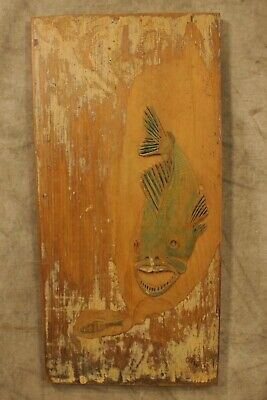$ CDN91.35 • Buy Vintage Ottis Wood Primitive Folk Art Carved Fish Signed  On Old Wood Board