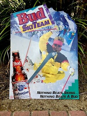 "$ CDN144.88 • Buy Rare Vintage 1991 Budweiser SKI TEAM  Wall Sign 28"" Tall HOME Bar Ski Lodge."