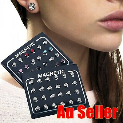AU9.95 • Buy 12X Round Non Piercing Magnetic Earrings Clip On Ear Stud Coloured Clear Crystal