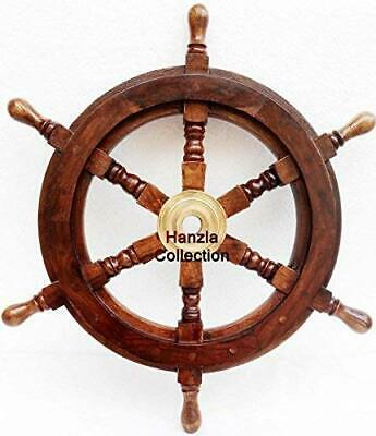 Collectible Wooden Ship Wheel Pirate Captain Boat Steering Nautical Maritime • 39£