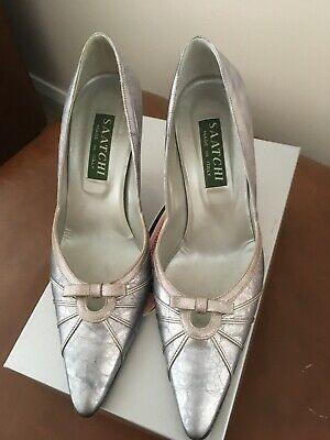 Saatchi Ladies Shoes Leather High Heeled Court Shoe In Pewter Size 39.5. • 4.30£