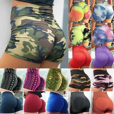 £11.99 • Buy Women Yoga Pants Sports Shorts High Waist Push Up Ruched Large Trousers Booty