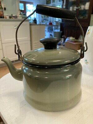 $14 • Buy Small Vintage Green OmbrÉ Enamel Metal  Tea Pot W/ Metal & Wood Handle