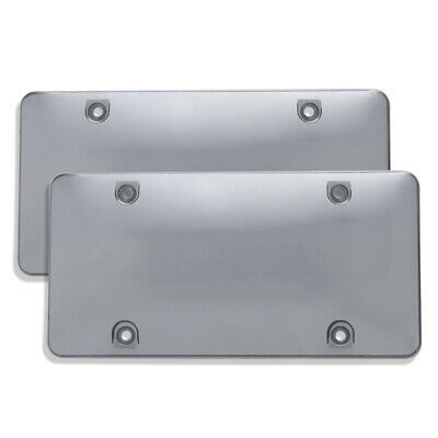 $11.99 • Buy Gray Pair Smoked Clear License Plate Tag Cover Shield Tinted Bubble Car Vehicle