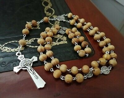 First Holy Prayer Catholic ROSARY BEADS WOODEN NECKLACE WOOD CROSS CRUCIFIX  • 4.49£