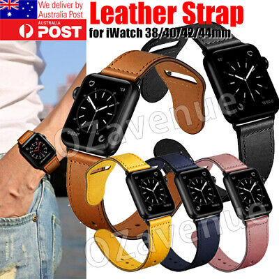 AU14.39 • Buy Leather Strap IWatch Band For Apple Watch Series 6 5 4 3 2 38mm 40 42 44