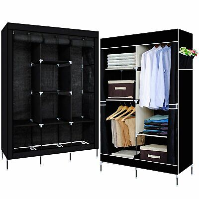 AU49.98 • Buy Portable Wardrobe Clothes Closet Storage Cabinet Organiser With Rails Shelves
