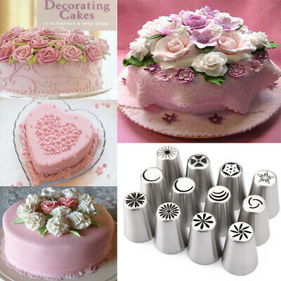 12pcs Russian Tulip Icing Piping Nozzles Cake Crafts Decoration Decor Tips Tool • 8.99£