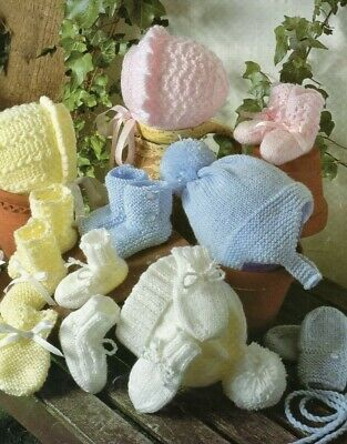 £2.79 • Buy Baby Boys/Girls Hats, Bootees And Mittens Knitting Pattern Prem-12 Months  E01