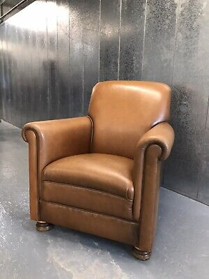 John Lewis Antique Art Deco Style Tan Leather Chesterfield Gents Arm Chair M3658 • 155£