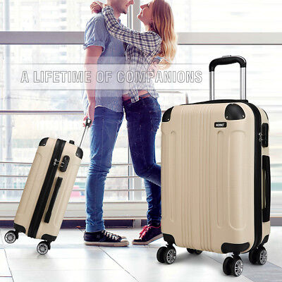 Beige Travel Suitcase 4 Wheel Case Bag Luggage Hard Shell Lightweight Trolley • 69.99£
