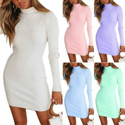 AU19.85 • Buy Women High Neck Long Sleeve Knitted Jumper Dress Solid Casual Bodycon Mini Dress