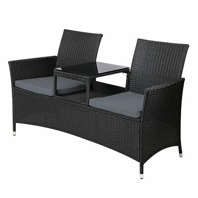 AU258.99 • Buy Outdoor Chair 2 Seater With Cushions Patio Garden Furniture - Black