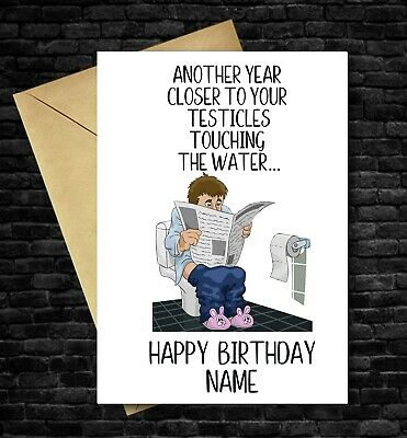 £2.99 • Buy FUNNY BIRTHDAY CARD Personalised Rude Adult For Men Male Dad Testicles Funny