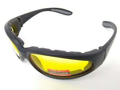 Unbreakable Yellow Tinted Padded UV400 Shooting Safety Glasses + Storage Pouch • 16.98£