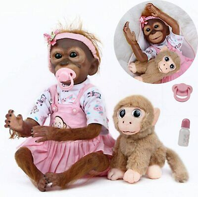 20  Reborn Monkey Dolls Handmade Soft Silicone Vinyl Lifelike Boy Magnetic Toy • 59.98£
