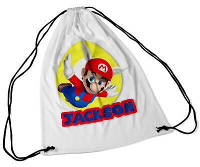 Personalised Drawstring Bag Any Name Super Mario School Nursery PE Gift 42 • 7.99£