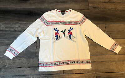 $24.99 • Buy NWT Women's Lands' End Sweater Christmas Winter Skier Cream 1X XL 16 18 New