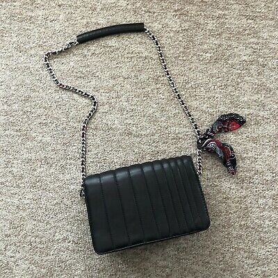 Zara Small Leather Quilted Silver Chain With Woven Scarf Cross Body Bag • 2.50£