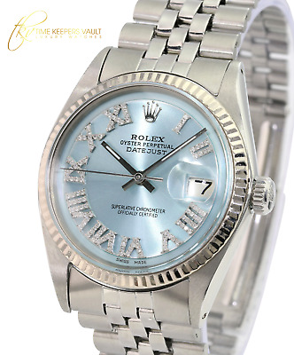 $ CDN3396.50 • Buy Rolex Mens Datejust  Stainless Steel Ice Blue Roman Dial Fluted Bezel  Watch