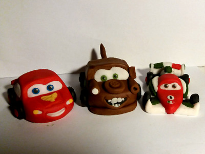 LIGHTNING MCQUEEN AND FRIENDS Set Of 3 Edible Cake Topper Decorations • 15£