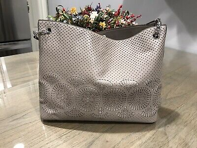 $149 • Buy Tory Burch Zoey Perforated Gray/Taupe Leather Handbag
